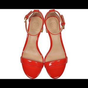 b5af4afe5a0 TORY BURCH Cecile Pepper Red Leather Heel Sandal